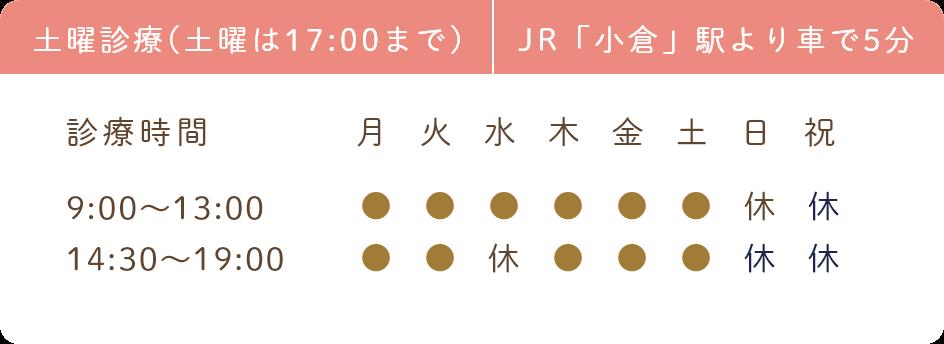 土曜診療(土曜は17:00まで) JR「小倉」駅より車で5分 診療時間 9:00~13:00 14:30~19:00
